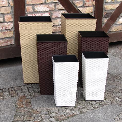 set blumenk bel polyrattan optik bertopf pflanzeinsatz. Black Bedroom Furniture Sets. Home Design Ideas